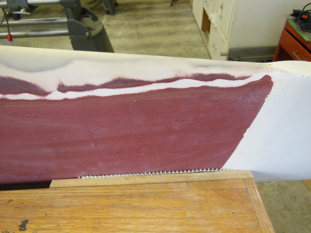 Upper trailing edge built up with epoxy