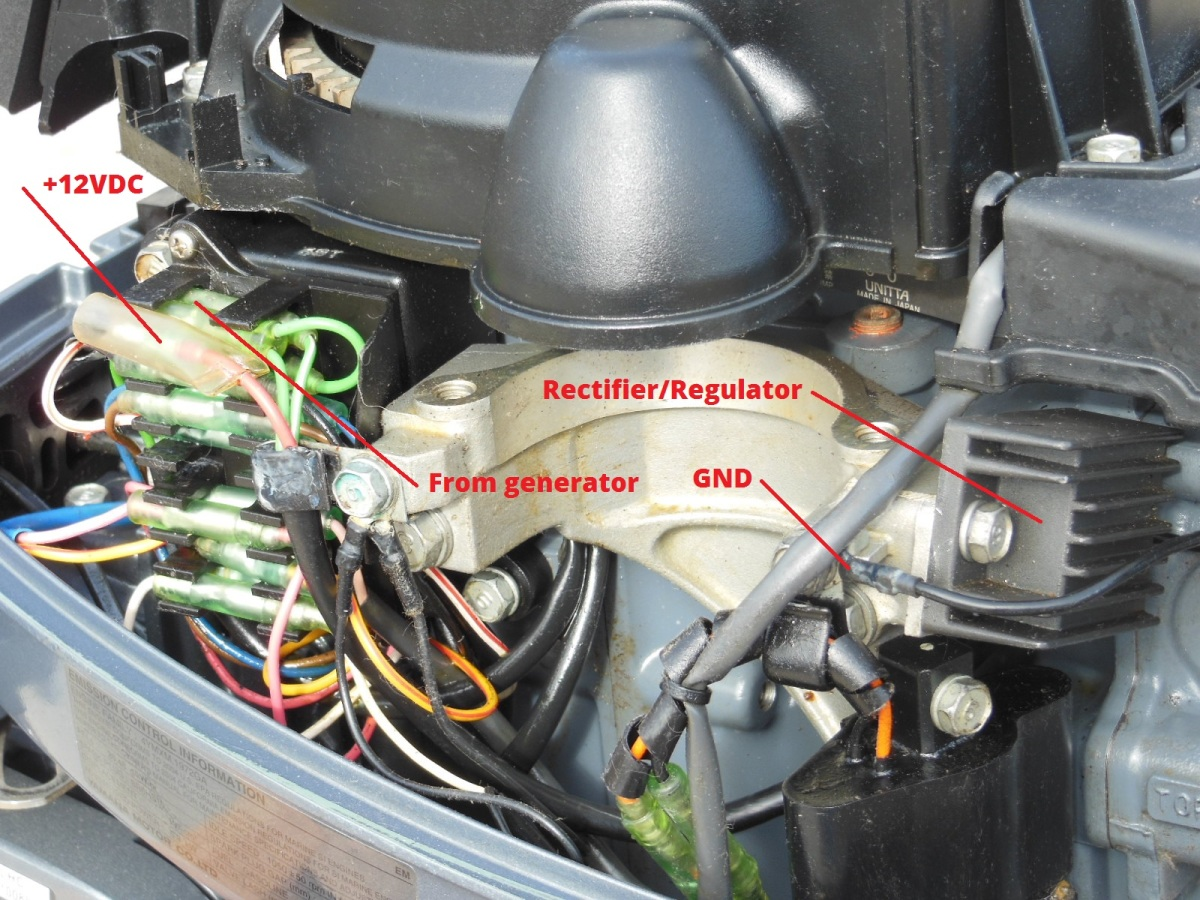 Upgrade Your Outboard Motor To Charge Battery The Tingy Sailor Rectifier Wiring Diagram With Alternator