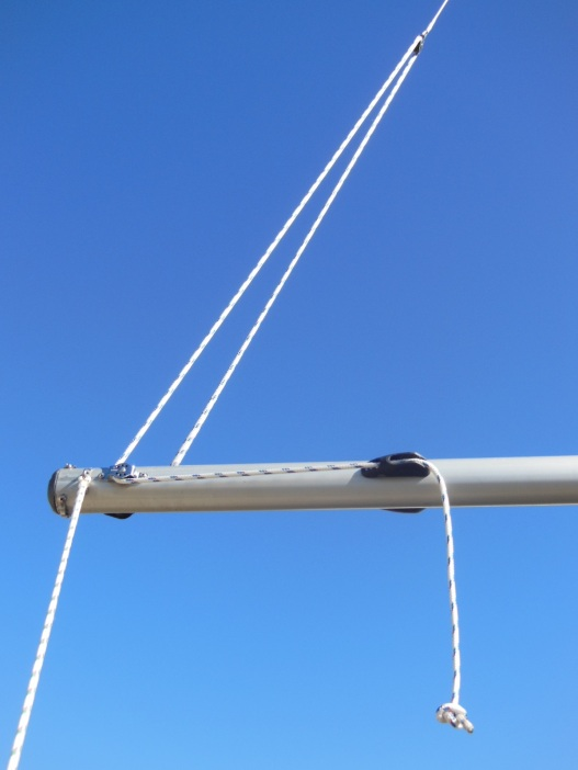Starboard side of the two-part boom topping lift