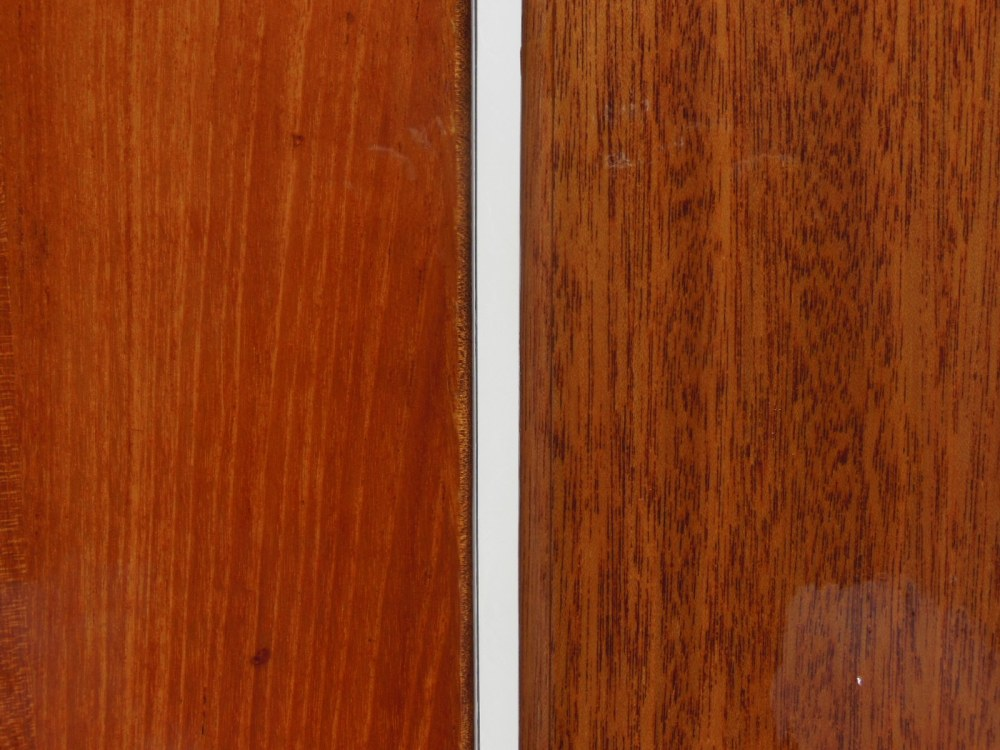 Teak on the left, stained mahogany on the right