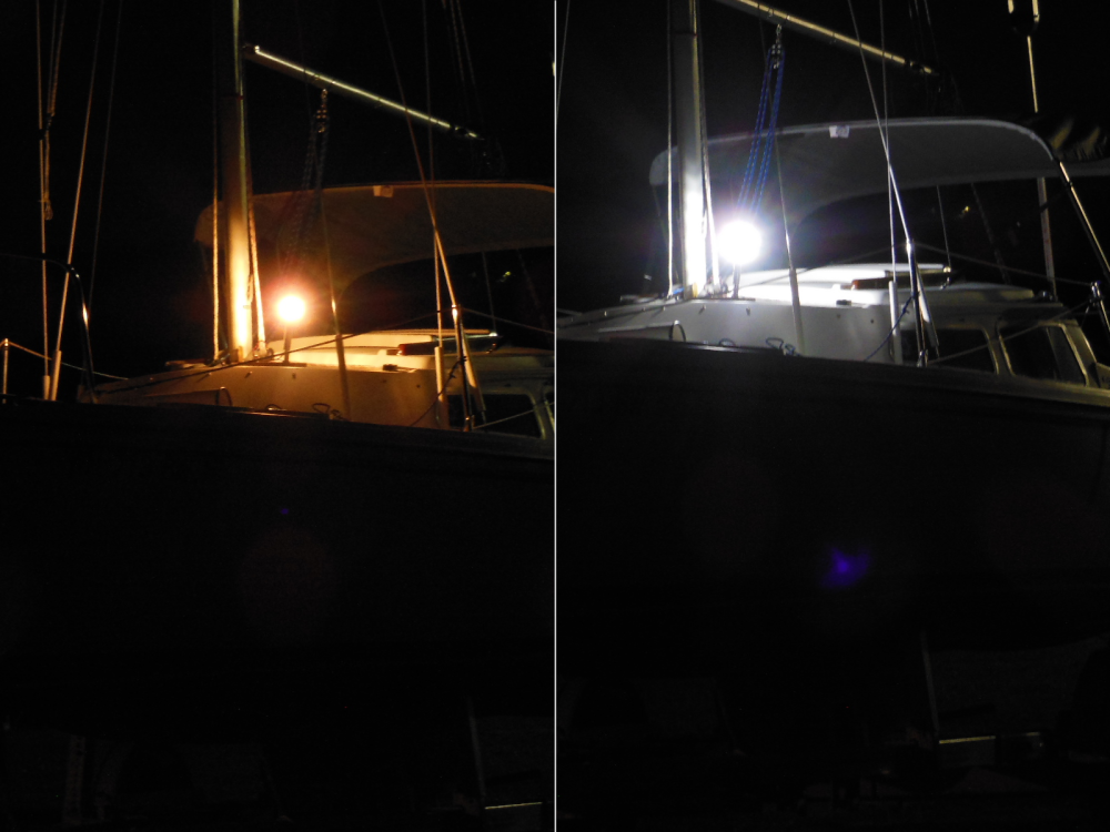Anchor light with incandescent bulb (L) and LED array (R)