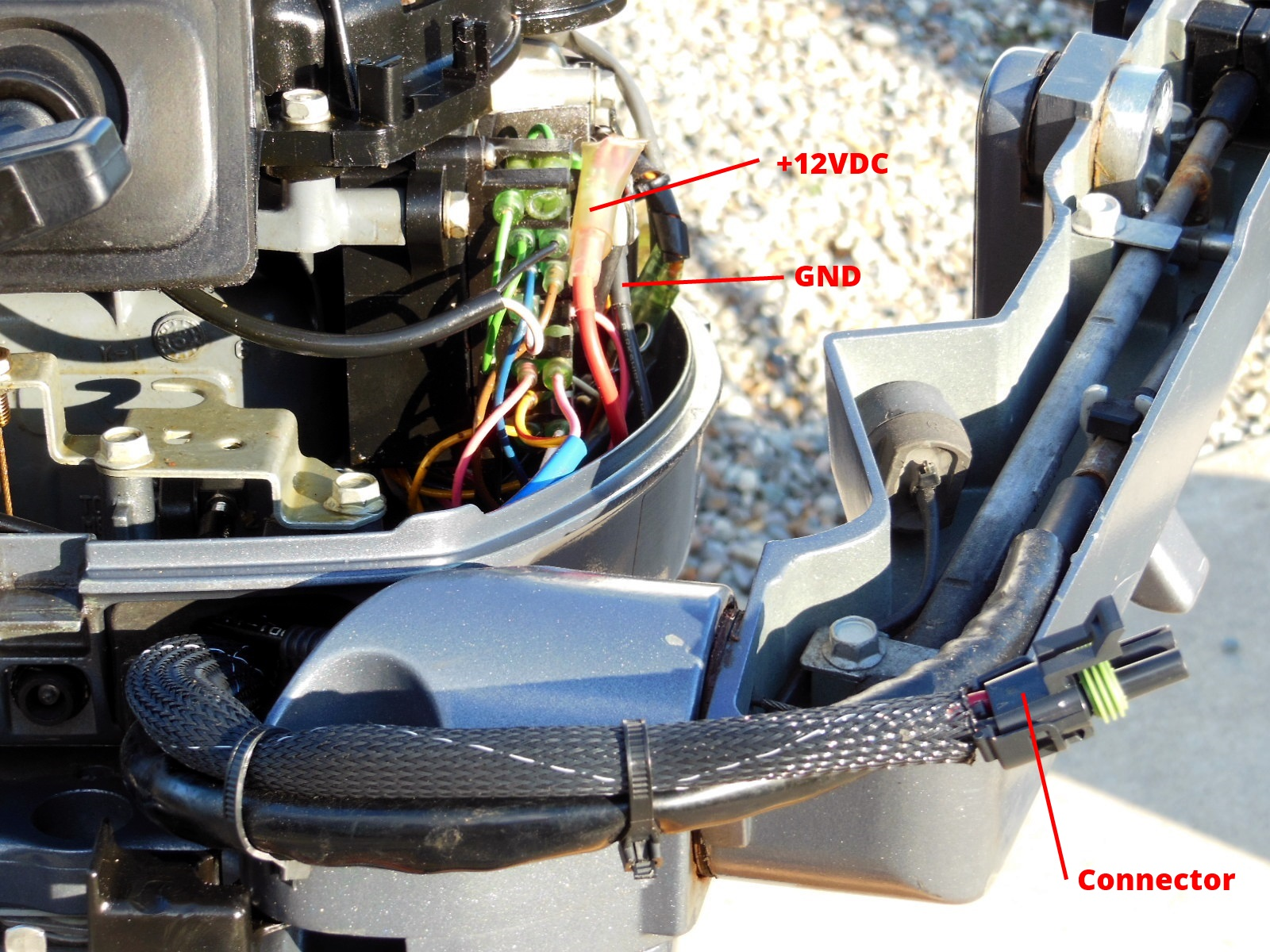 Upgrade your outboard motor to charge your battery the tingy sailor front of motor showing wiring connections and male connector fandeluxe Choice Image
