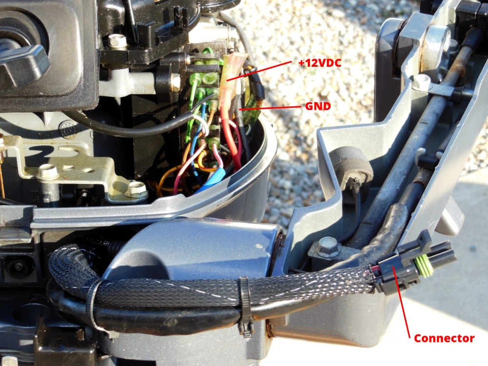 Front of motor showing wiring connections and male connector