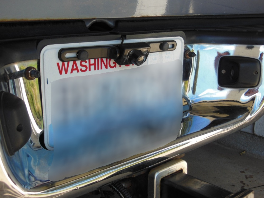 Backup camera mounted on license plate