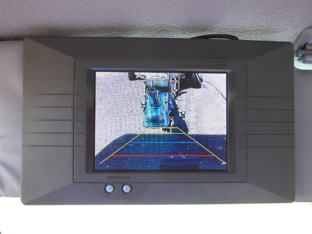 Monitor mounted on sun visor