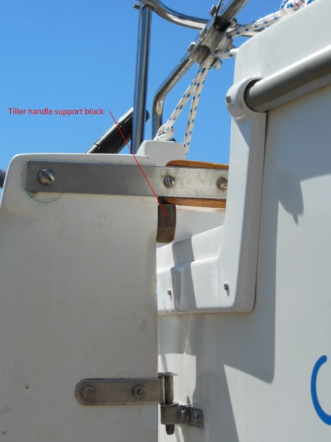 Tiller handle stop block screwed to rudder