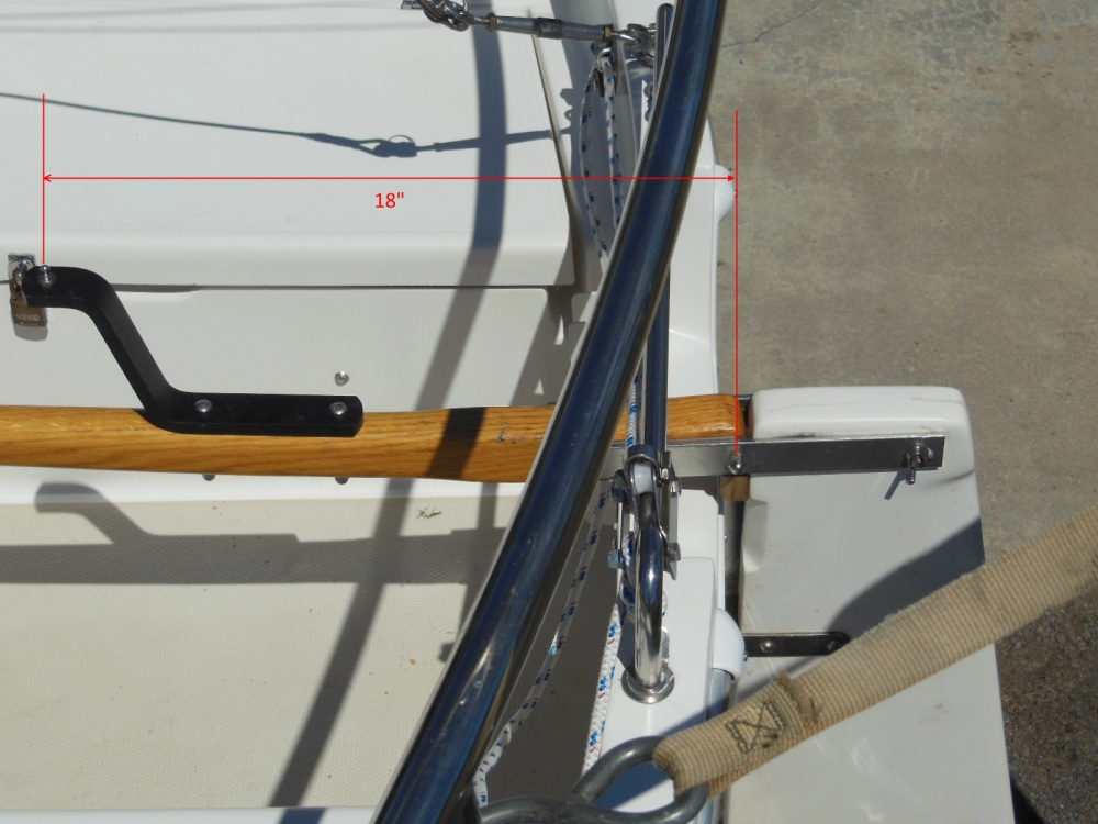 Tiller pin distance from the rudder pintle axis