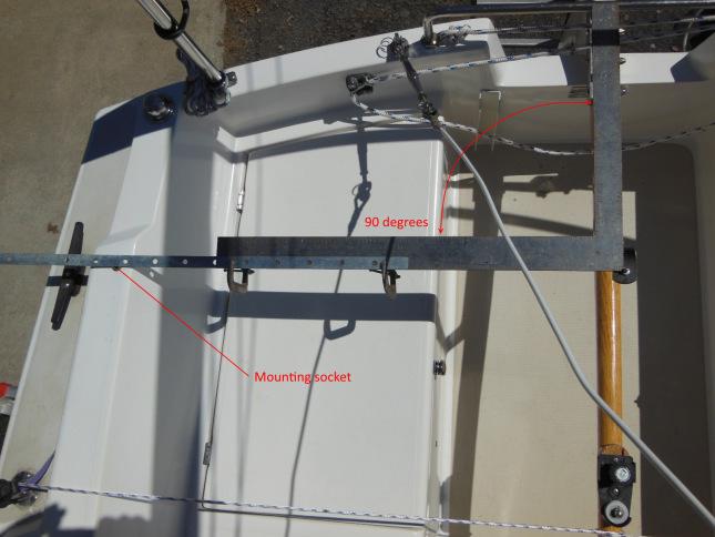 Mounting socket longitudinal location 90 degrees from the tiller pin