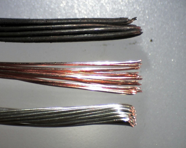 From top to bottom: 33 year-old wire, new auto grade wire, new marine grade wire