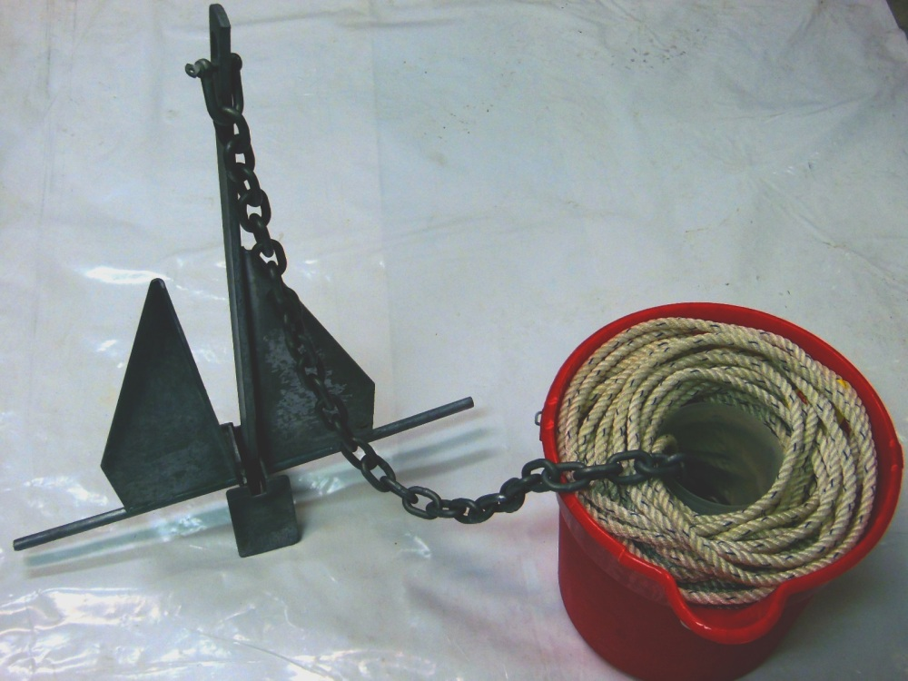 A bucket makes using and storing the anchor rode and chain easy