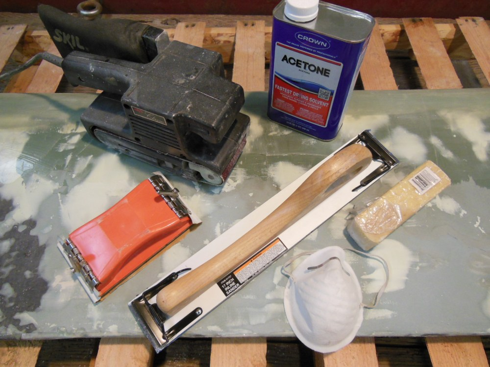 Tools and supplies for sanding