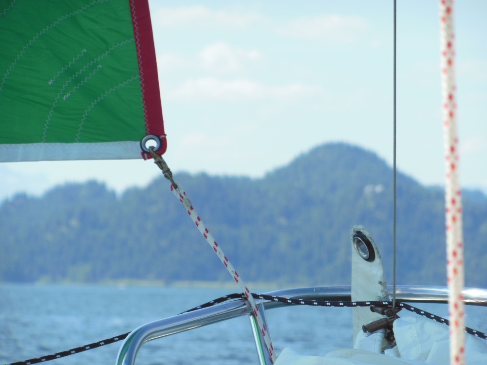 A headsail downhaul line makes a fine spinnaker tack line