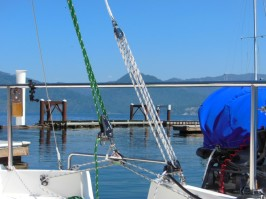Main sheet (left, green), traveler bar, and adjustable backstay (right, white)